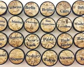 World City Map Print Collection - Dresser Knobs - International, Europe, Asia, London, Paris, Desk, Travel - Drawer Pull, Cabinet - 815Y37