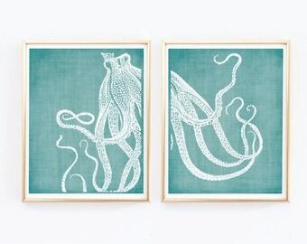 Octopus Prints, Coastal Wall Decor, Beach Decor, Nautical Decor, Beach Home Decor, Teal and White Print