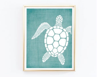 Turtle Prints, Costal Wall Art, Beach Decor, Home and Living, Nautical Decor, Beach Home Decor, Teal and White Print, Art and Collectibles