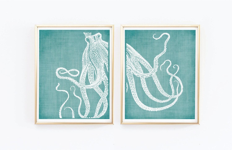 octopus prints coastal wall decor beach decor nautical. Black Bedroom Furniture Sets. Home Design Ideas