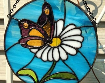 Round butterfly & daisy stained glass suncatcher