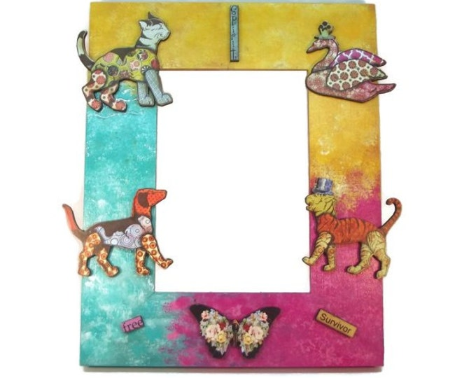 Free Spirit Funky Spunk Animals in Blue, Pink, and Yellow Theme Picture/Photo Frame One of a Kind OOAK Gift 5x7