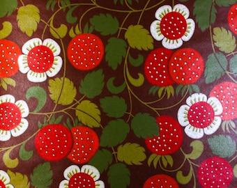 Vintage Original STRAWBERRY FIELDS FOREVER 60s 70s Mid Century Modern Wallpaper