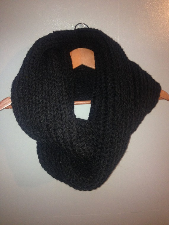 Chunky Black Knit Infinity Scarf. Loop Scarf. Vegan scarf.
