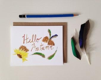 Fall Greeting Card // Hello Autumn // Blank Card // Fall Card