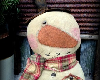 "Primitive Folk Art ""Snow Happy"" Snowman Shelf Sitter Epattern--Digital Download-Hafair Team, DTHFAAP"