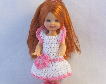 Crochet Doll Dress Kelly, Crochet Doll Clothes, Kelly Outfit, Barbies Sister, White and Pink Dress