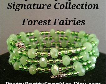 Jade crystals memory wire bracelet, semi precious stones bracelet, glass beads, wrap bracelets, stainless steel, green bracelet, bridesmaids