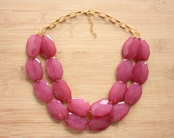 Raspberry Plum Statement Necklace- Aqua Statement Necklace-Bib Necklace-Gold Statement Necklace