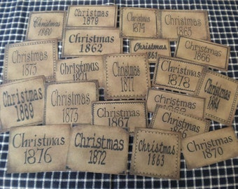 Christmas Dates Prim Pantry Labels