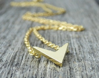 Gold Chevron Necklace. Dainty Gold Plated Necklace. Simple Necklace. Minimalist Jewelry. Elegant Necklace. Delicate