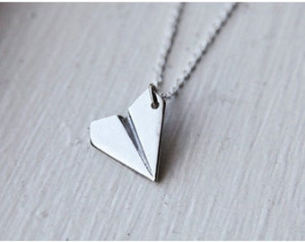 Paper Airplane Necklace, Silver Paper Airplane Necklace, Plane Necklace, Harry Styles, Taylor Swift Necklace, Statement Necklace, Fashion