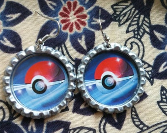 Floating Pokeball Bottlecap Earrings