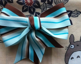 Blue, Brown, and White Stripped Hair Bow