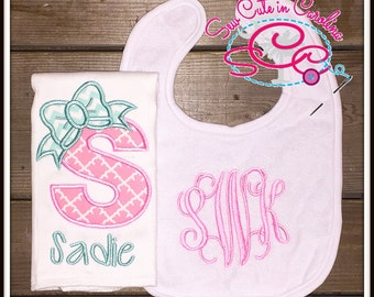 Personalized Pink and Mint Bib and Burp Cloth Set