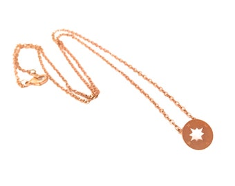 Compass necklace Rosé gold incl. map