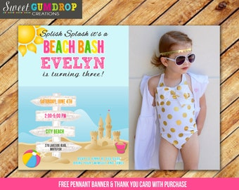 Beach Birthday Invitation - Printable - FREE pennant banner and thank you card with purchase