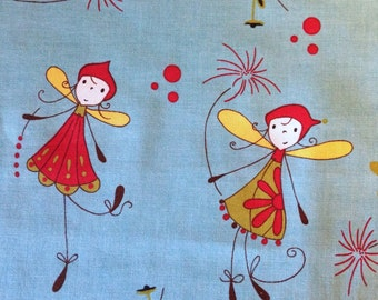 WOODLAND By Natalie Lymer - Fabric - Fairies on Turquoise - Cinderberry Stitches - Lecien - Japan - Fairy - Nursery - Baby - Quilting