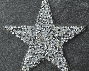 """3-1/4"""" Star Shape Rhinestone iron-on Applique Patch by pc, TR-11039"""