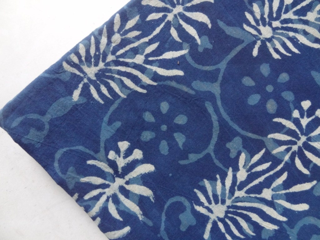 Indigo block printed cotton fabric fabric sold by yard for Printed cotton fabric