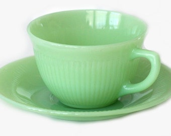 Set of Three Vintage Fire King Jadeite Jane Ray Tea Cup & Saucer - Oven Ware