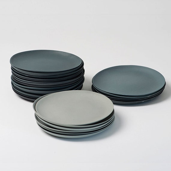 plates porcelain gray set ~ Geschirr Grau