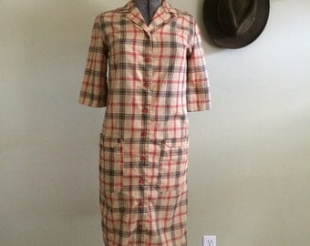40's Plaid Shirt Dress