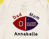 LSU Tigers Ohio State Buckeyes House Divided Baby Bodysuit, Shirt or Burp Cloth