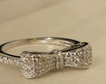 Sterling Silver Pave CZ Ribbon Ring