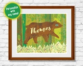 Bear Art Print – Personalize with custom name
