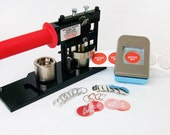 "1"" Tecre Button Making Kit - Button Machine, Button Boy Double Level Hand Held Punch, 500 Pin Back Button Parts"