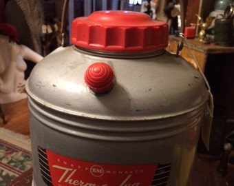 Vintage Thermos Knapp Monarch Therm-A-Jug Hot Or Cold Thermos Cooler Tailgating Glamping