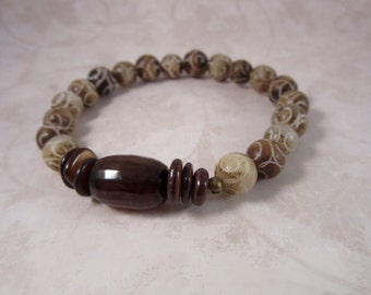 Taupe Carved Jade Stretch Bracelet, Olive Bracelet, Brown Bracelet, Carved Jade Bracelet, Bohemian Bracelet, Jade Stacking Bracelet