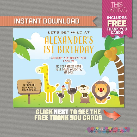 Safari invitation with free thank you card jungle birthday il570xn stopboris Choice Image