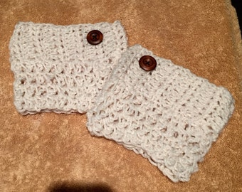 Crochet boot cuffs off white