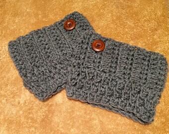 Womens gray crochet boot cuffs