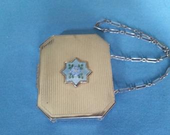 Antique Silver Plated Guilloche Compact Dance Purse