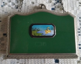 Antique Green Enamel Compact Dance Purse