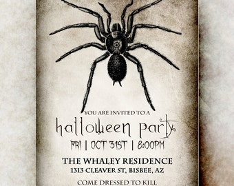 Halloween Invitation - Halloween invitation printable, Spider Halloween invitation, adult Halloween invitation