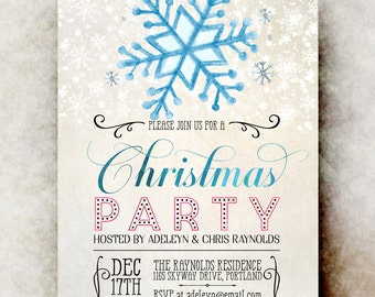 Printable Christmas Invitation - Christmas Party Invitation, Rustic Christmas invitation, Christmas snowflake invitation