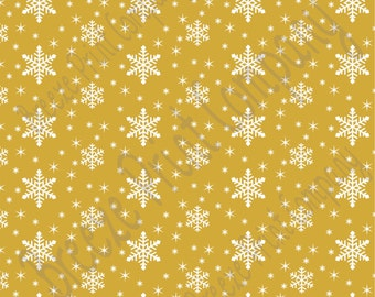 Gold snowflake craft  vinyl sheet - HTV or Adhesive Vinyl -  winter pattern non-metallic HTV1304