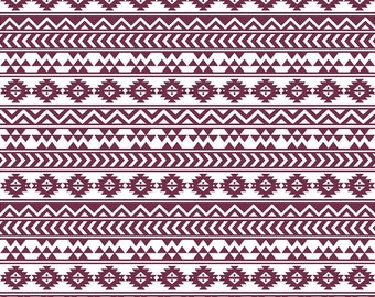 Maroon and white tribal pattern craft  vinyl sheet - HTV or Adhesive Vinyl -  Aztec Peruvian pattern HTV966