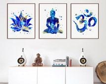 Set of 3 Prints, Lotus, Buddha, Om Symbol, Yoga Studio Decor,