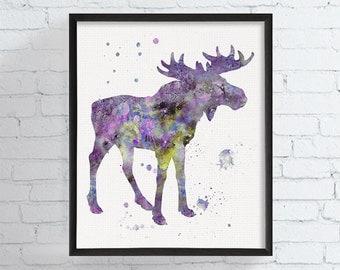 Watercolor Moose, Moose Art, Moose Print, Moose Painting, Moose Poster, Woodland, Forest Animal, Nursery Wall Art, Watercolor Animal, Framed