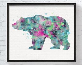 Bear Art, Bear Print, Watercolor Bear, Bear Painting, Bear Poster, Bear Illustration, Watercolor Animal, Animal Art, Animal Painting