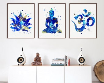 Set of 3 Prints, Lotus, Buddha, Om Symbol, Yoga Studio Decor, Yoga Wall Art, Meditation Wall Art, Buddha Wall Art, Buddhist Decor, Zen Art