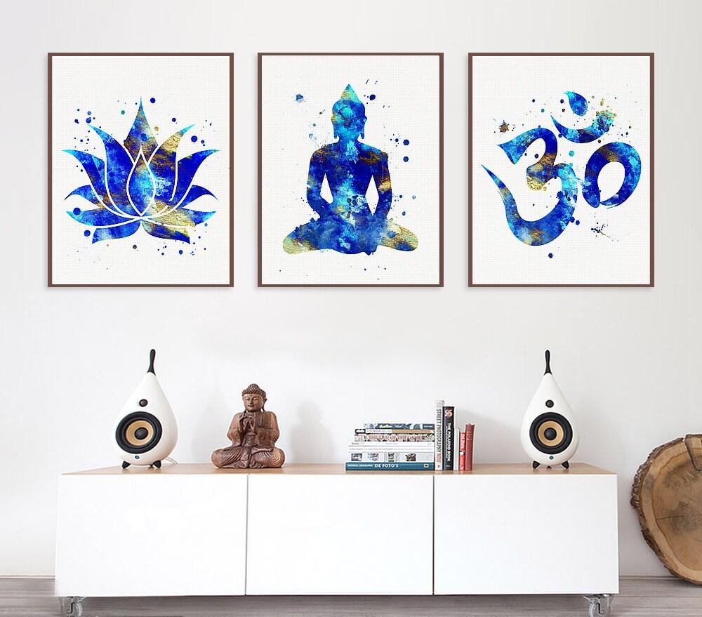 Set of 3 prints lotus buddha om symbol yoga studio decor for Buddha decor