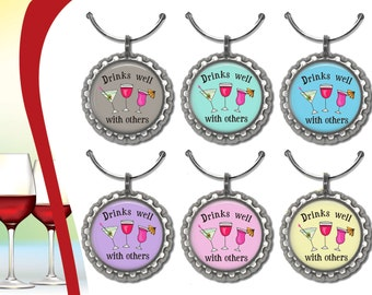 6 Drinks Well With Others Wine glass Charms