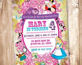 Alice in Wonderland Birthday Invitation. Digital File, Your Print - 5x7