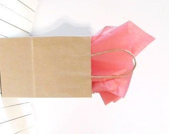 """100 -  8"""" x 4 1/2"""" x 10 1/4""""   Kraft Paper Bags w/ Handles - Great for Weddings, Gifts, Favors - Baby Showers, Weddings, Holidays"""